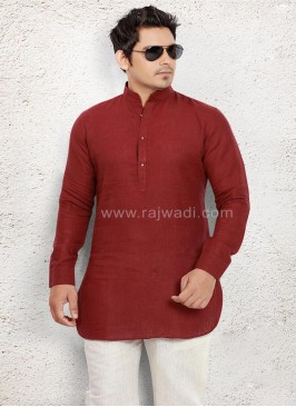Awesome Linen fabric Maroon Pathani Suit