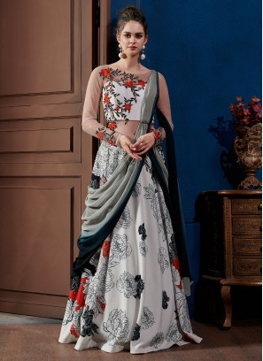 Awesome Print Fancy Fabric Multi Colour Designer Gown