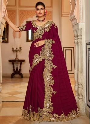 Awesome Wine Sangeet Designer Traditional Saree