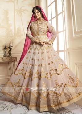 Ayesha Takia Cream Heavy Work Salwar Kameez