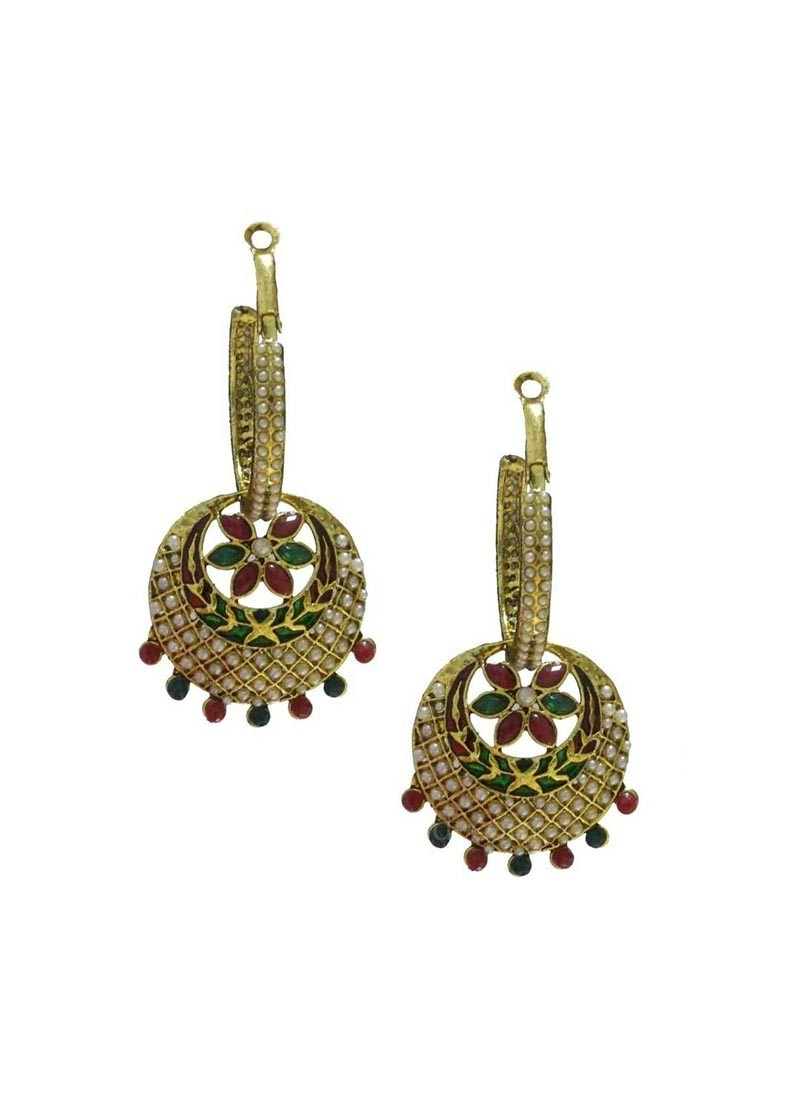 Bali Drop Maroon Green Earrings