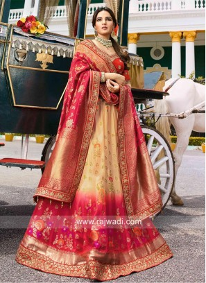 Banarasi A Line Shaded Lehenga