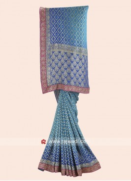 Banarasi Chiffon Wedding Sari in Blue