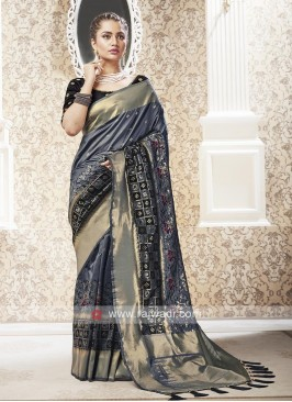 Banarasi Dark Grey Saree