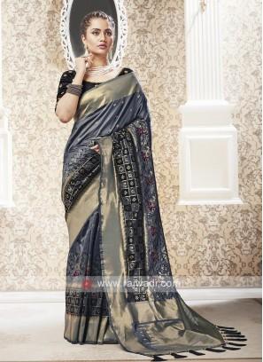 Banarasi Dark Grey Saree