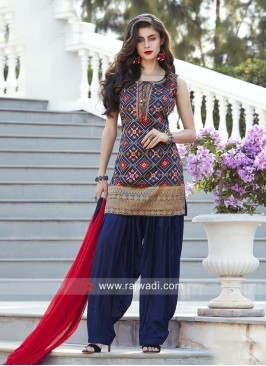 Banarasi Designer Patiala Suit in Blue
