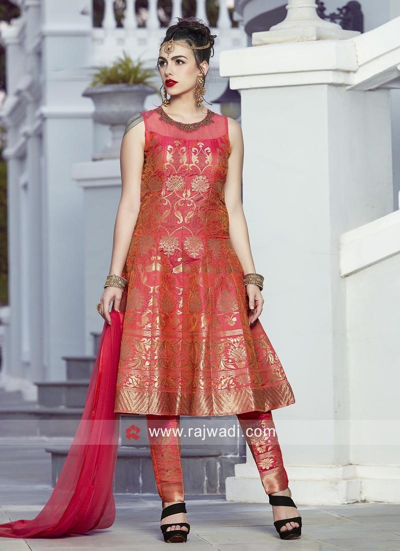 Banarasi Knee Length Trouser Suit