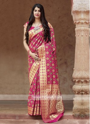 Banarasi Patola Saree In Deep Pink