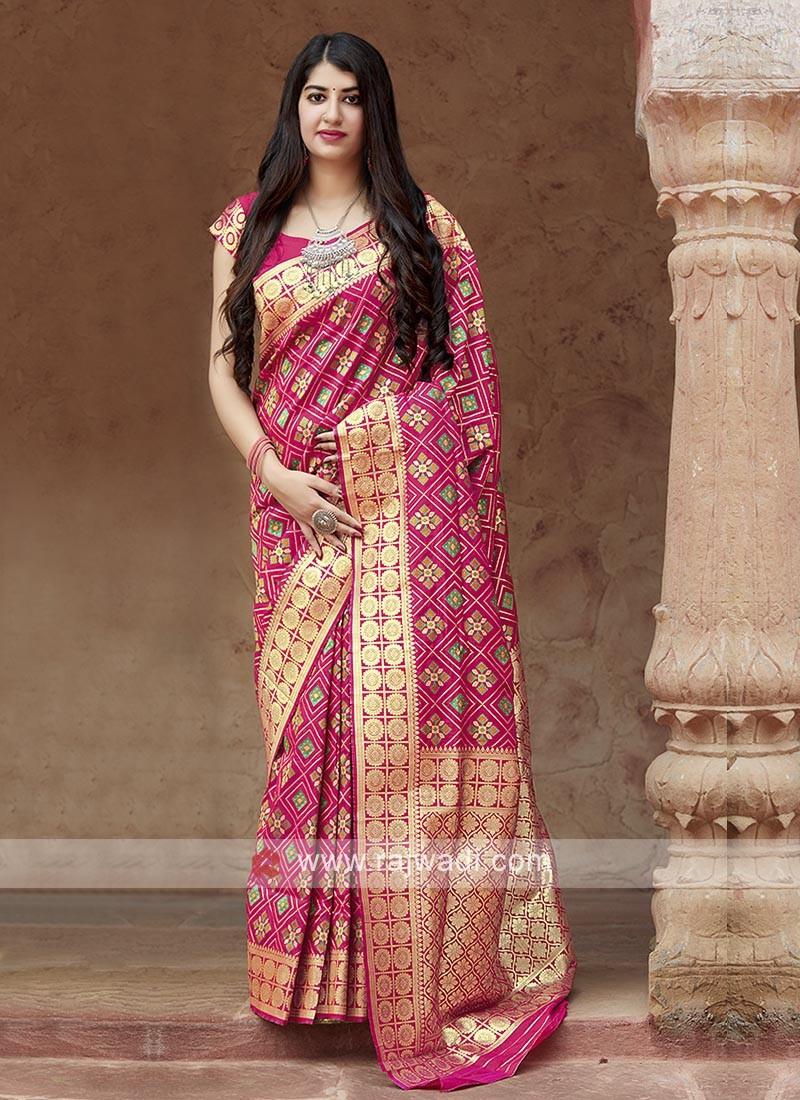 Banarasi Patola Saree In Deep Pink