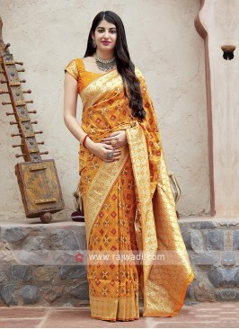 Banarasi Patola Saree In Orange