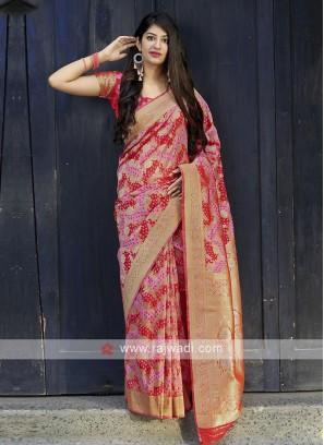 Banarasi Satin Saree In Red And Pink