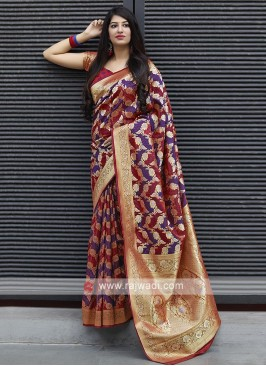 Banarasi Satin Saree In Red And Purple