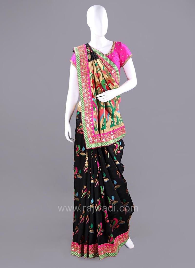 Banarasi Silk Bird Designs Wedding Saree