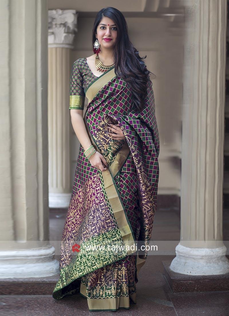 Banarasi Silk Checks Saree
