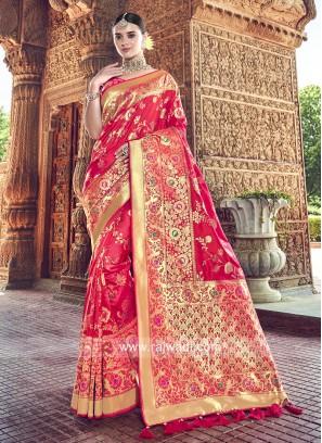 Banarasi Silk Crimson Saree with Blouse