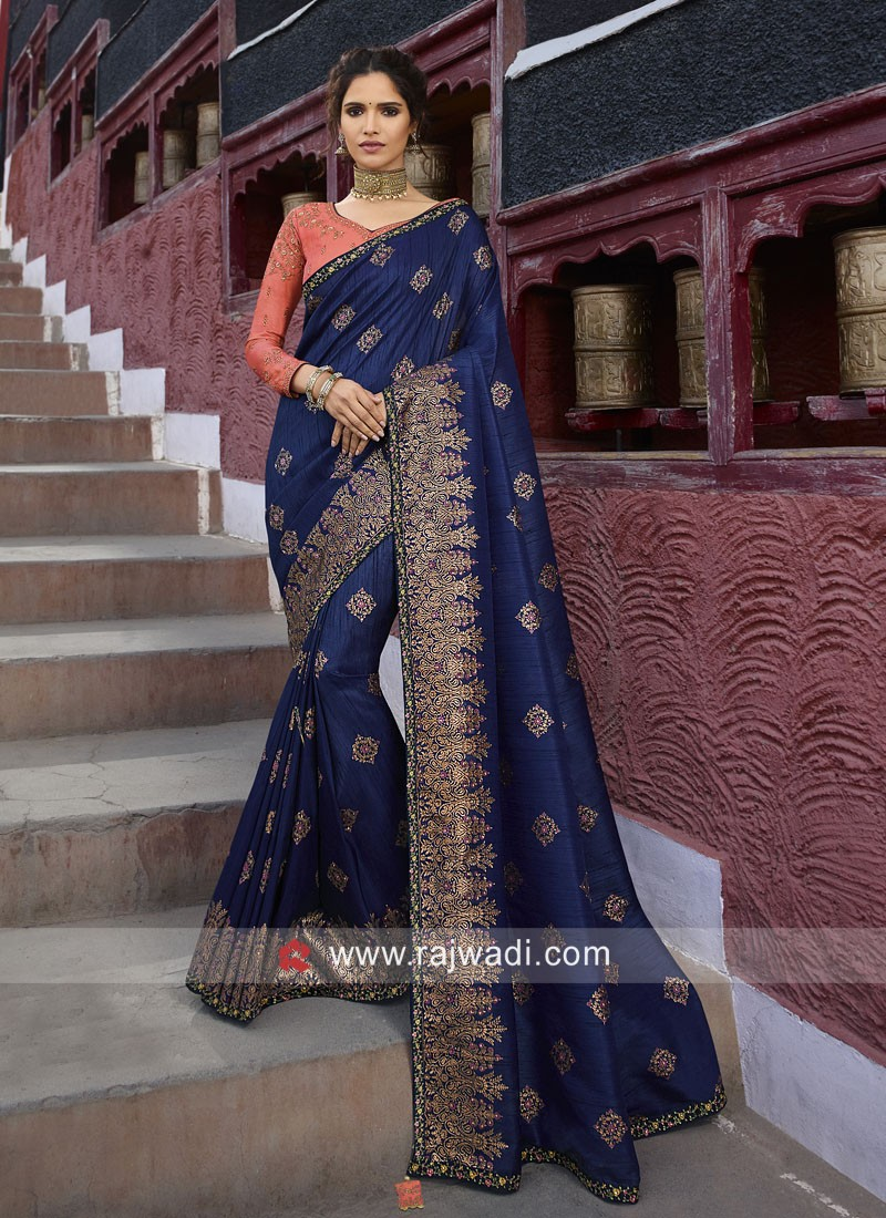 Banarasi Silk Dark Blue Heavy Saree