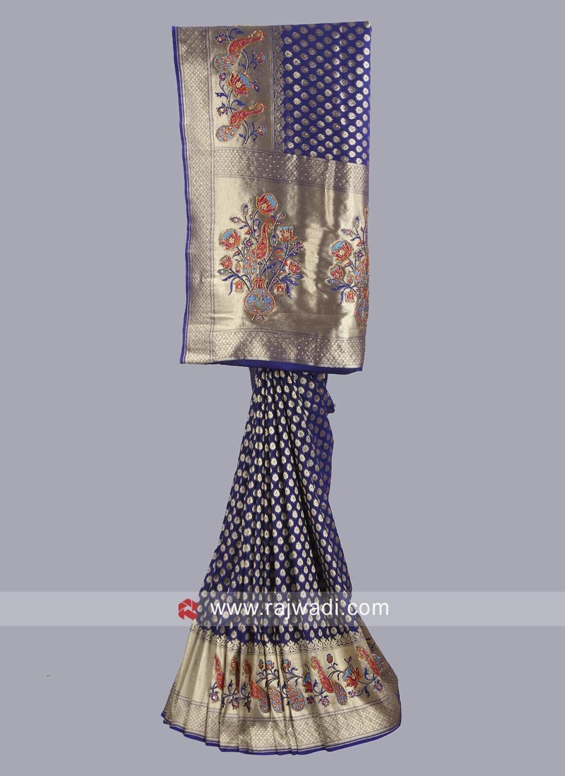 Banarasi Silk Dark Blue Saree