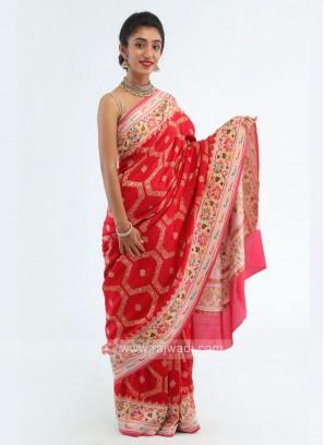 Banarasi Dola Silk Red Saree