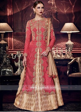 Banarasi Silk Embroidered Dual Layered Salwar Suit