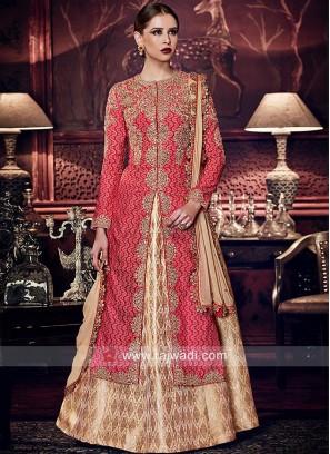 Banarasi Silk Embroidered Dual Layered Salwar Suit