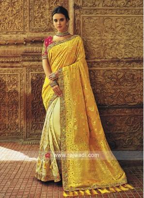Banarasi Silk Embroidered Half Saree