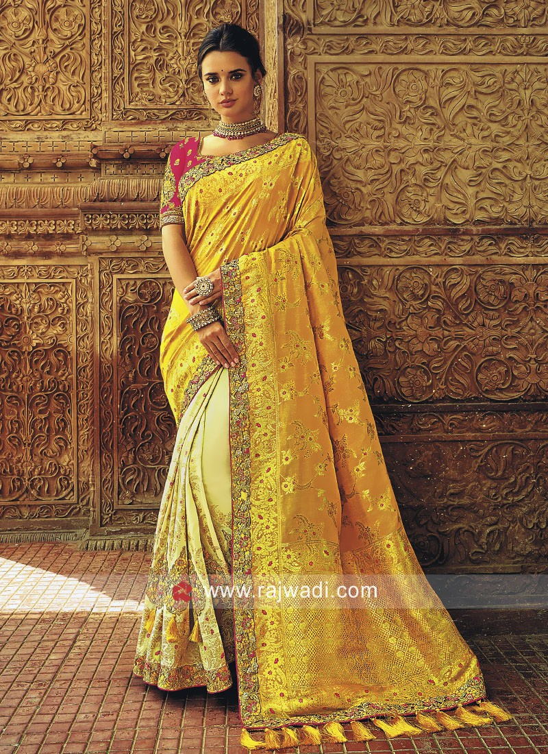 Banarasi Silk Embroidered Half Saree
