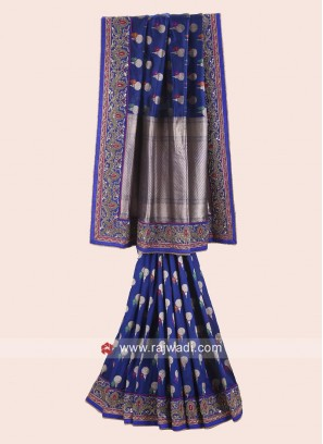 Banarasi Silk embroidered Saree in Dark Blue