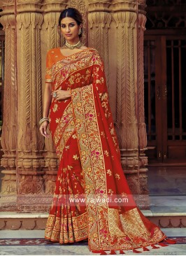 Banarasi Silk Embroidered Saree in Red
