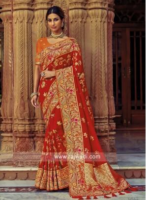 Banarasi Silk Embroidered Saree in Red