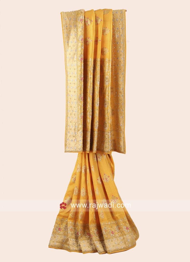 Banarasi  Silk Embroidered Saree in Yellow