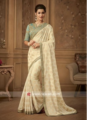 Banarasi Silk Embroidered Saree with Border