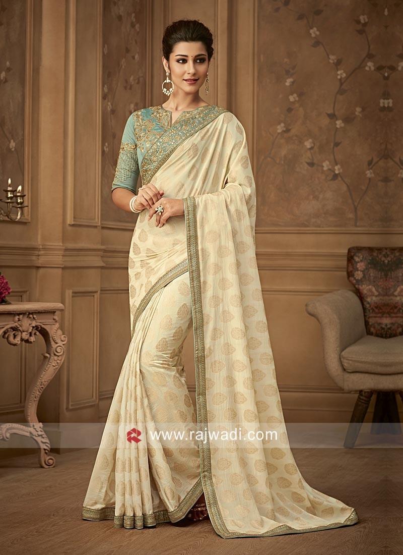 Banarasi Silk Embroidered Saree with Border