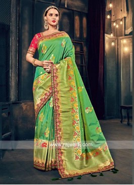 Banarasi Silk Embroidered Sari with Tassels