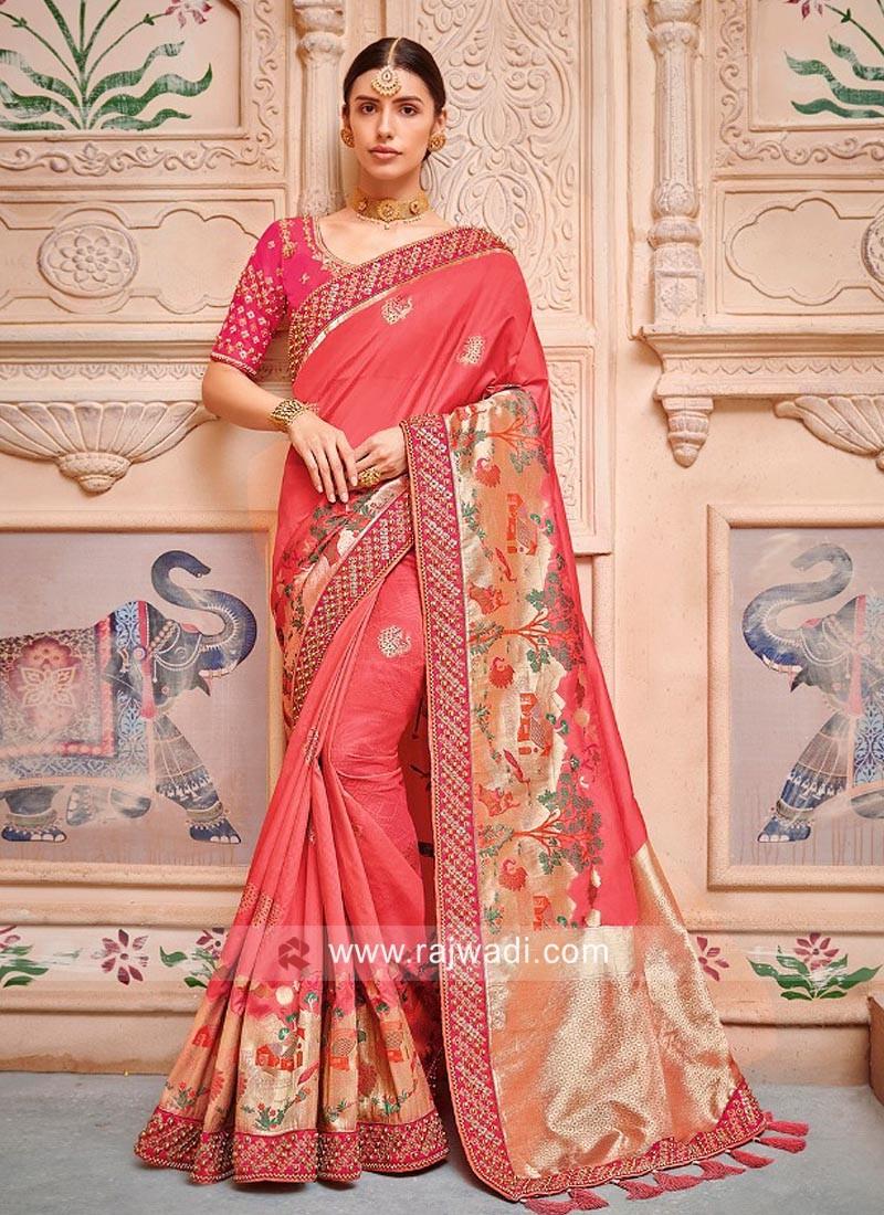 Banarasi Silk Festive Saree in Peach