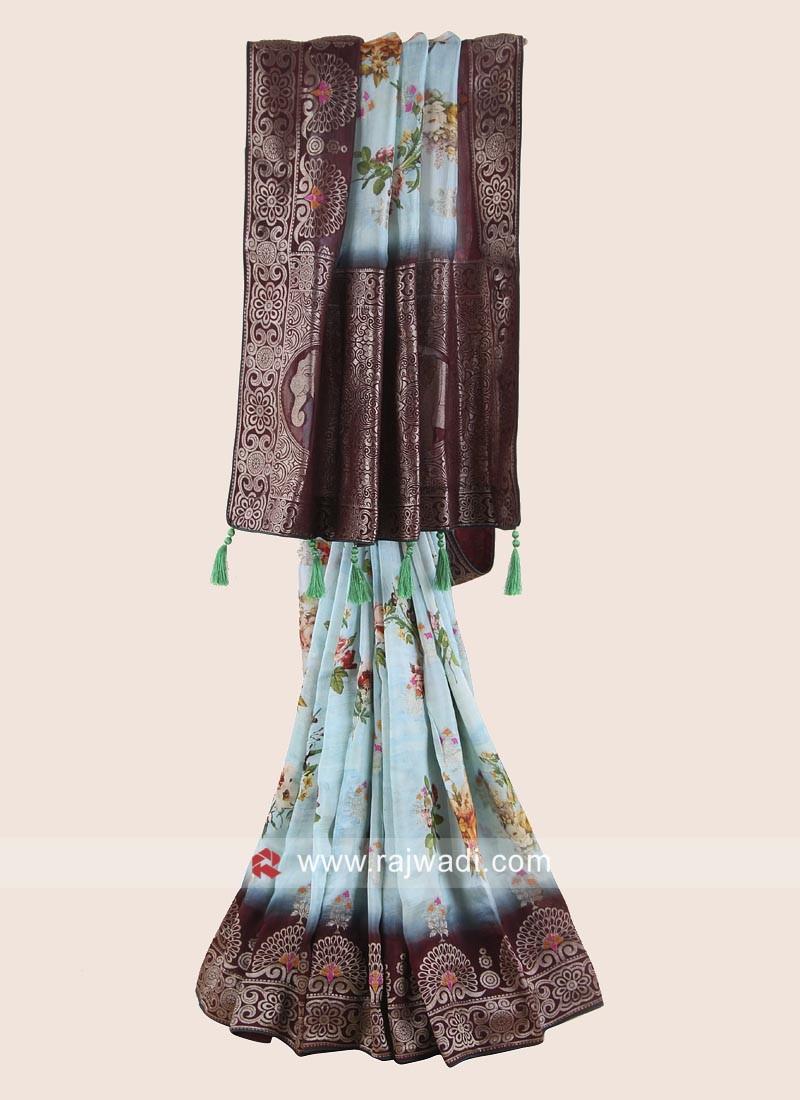 Banarasi Silk Flower Print Woven Saree