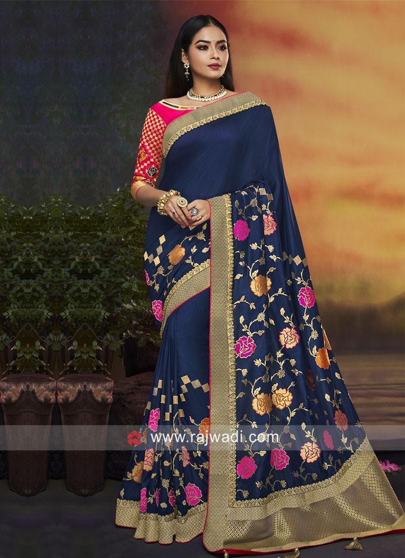 Banarasi Silk Flower Work Saree