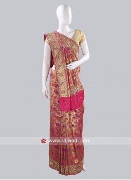 Banarasi Silk Flower Work Saree
