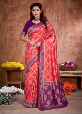 Banarasi Silk Gajari Pink And Purple Saree