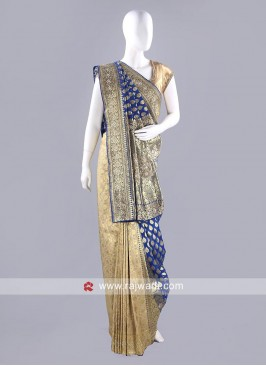 Banarasi Silk Golden Cream Saree