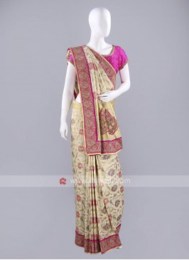 Banarasi Silk Golden Cream Sari