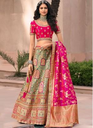 Banarasi Silk Green and Pink Resham Lehenga Choli