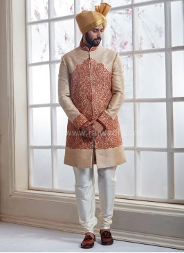 Banarasi Silk Groom Sherwani with Thread Work