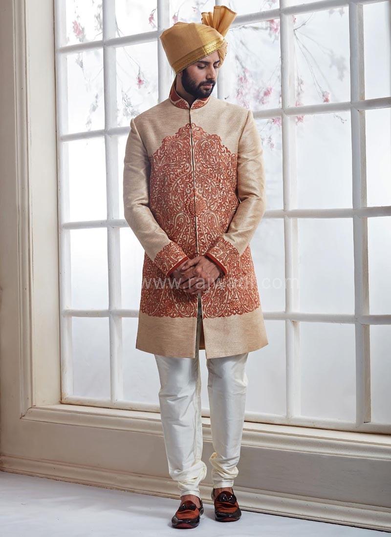 Banarasi Silk Groom Sherwani with Thread Work