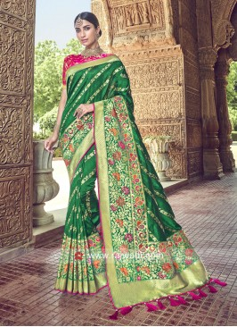 Banarasi Silk Heavy Saree in Green