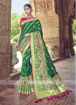 Banarasi Silk Heavy Saree in Green