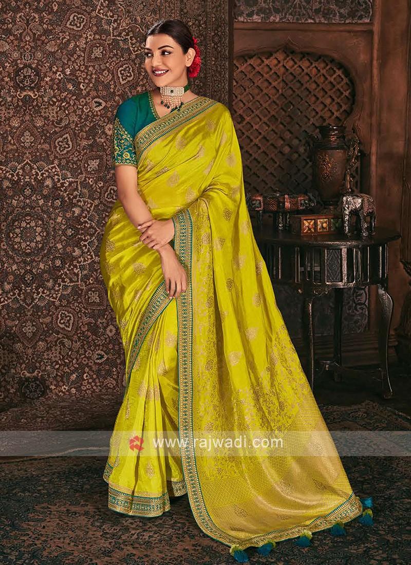 Banarasi Silk Lemon Yellow Color Saree
