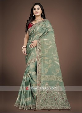 Banarasi silk light Green Saree with contrast Blouse