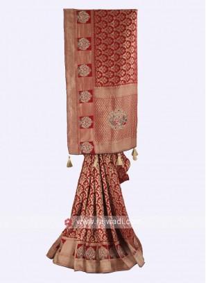 Banarasi silk maroon color saree