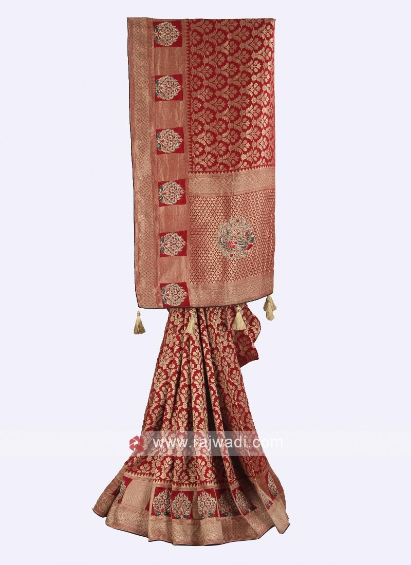 Banarasi silk maroon color saree
