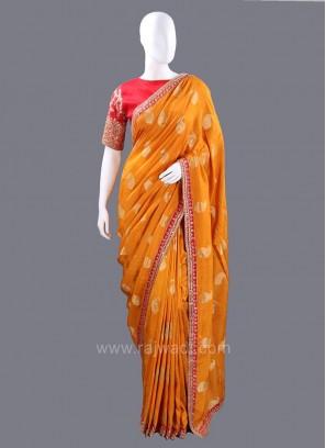 Banarasi Silk Mustard Yellow Paisley Saree with Blouse